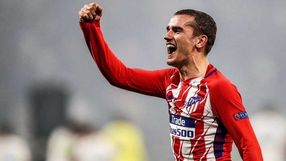 LYON, FRANCE - MAY 16: Antoine Griezmann #7 of Atletico Madrid celebrate the victory following the UEFA Europa League Final between Olympique de Marseille and Club Atletico de Madrid at Stade de Lyon on May 16, 2018 in Lyon, France. (Photo by Maja Hitij/Getty Images)
