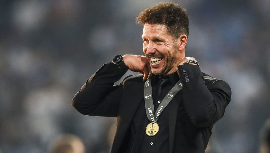 LYON, FRANCE - MAY 16: Diego Simeone, Coach of Atletico Madrid celebrates after winning the UEFA Europa League Final between Olympique de Marseille and Club Atletico de Madrid at Stade de Lyon on May 16, 2018 in Lyon, France. (Photo by Maja Hitij/Getty Images)