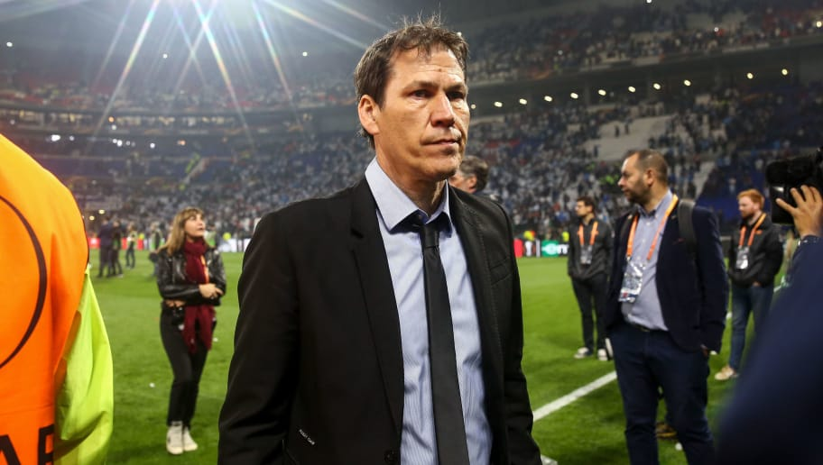 LYON, FRANCE - MAY 16: A dejected Rudi Garcia head coach / manager of Marseille during the UEFA Europa League Final between Olympique de Marseille and Club Atletico de Madrid at Stade de Lyon on May 16, 2018 in Lyon, France. (Photo by Robbie Jay Barratt - AMA/Getty Images)