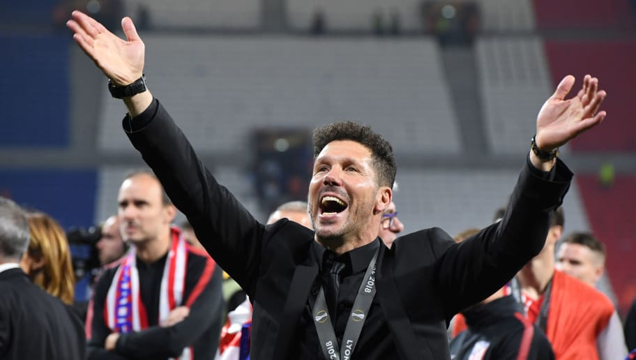 LYON, FRANCE - MAY 16: Atletico Madrid head coach Diego Simeone celebrates with his family after the UEFA Europa League Final between Olympique de Marseille and Club Atletico de Madrid at Stade de Lyon on May 16, 2018 in Lyon, France. (Photo by Etsuo Hara/Getty Images)