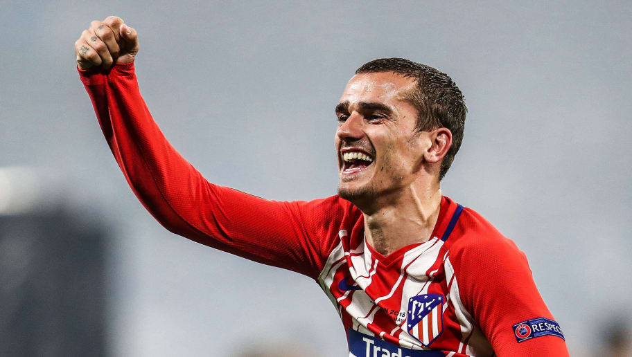 LYON, FRANCE - MAY 16: Antoine Griezmann of Atletico Madrid celebrates his team's victory in the UEFA Europa League Final between Olympique de Marseille and Club Atletico de Madrid at Stade de Lyon on May 16, 2018 in Lyon, France. (Photo by Maja Hitij/Getty Images)