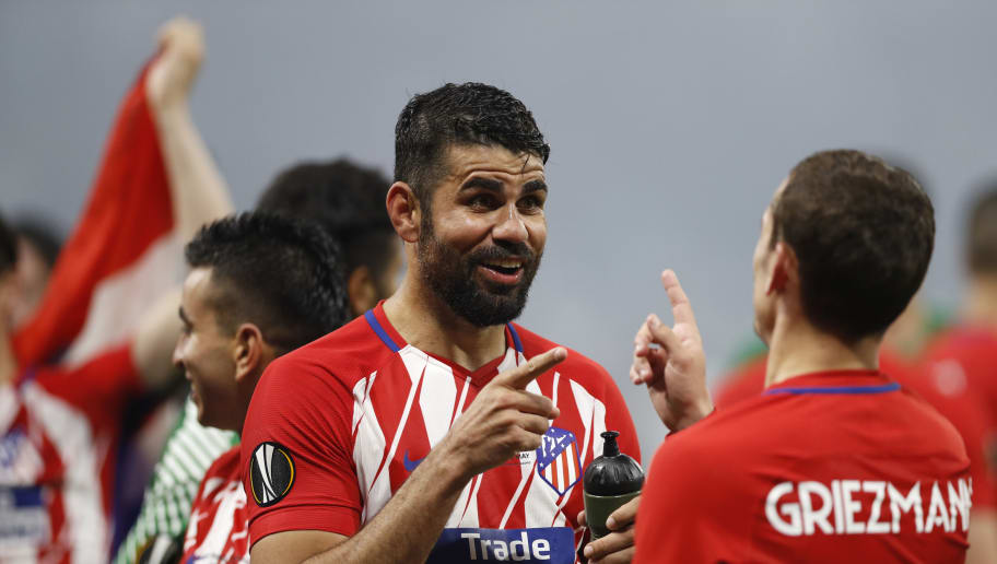 LYON, FRANCE - MAY 16: Diego Costa of Athletico Madrid is seen  during the UEFA Europa League Final between Olympique de Marseille and Club Atletico de Madrid at Stade de Lyon on May 16, 2018 in Lyon, France. (Photo by Ian MacNicol/Getty Images)