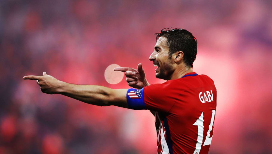 LYON, FRANCE - MAY 16:  Gabi of Athletico Madrid celebrates scoring his sides third goal during the UEFA Europa League Final between Olympique de Marseille and Club Atletico de Madrid at Stade de Lyon on May 16, 2018 in Lyon, France. (Photo by Ian MacNicol/Getty Images)
