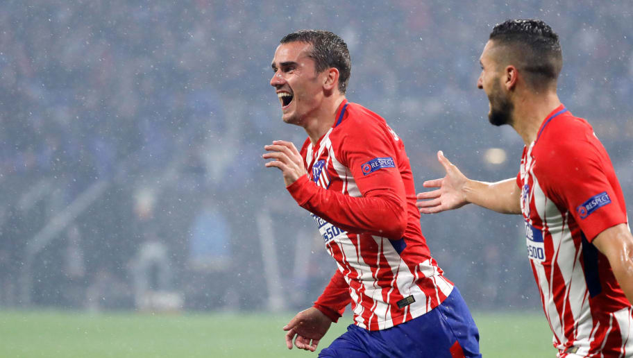 LYON, FRANCE - MAY 16: Antoine Griezmann of Atletico Madrid celebrates after scoring his team`s second goal during the UEFA Europa League Final between Olympique de Marseille and Club Atletico de Madrid at Stade de Lyon on May 16, 2018 in Lyon, France. (Photo by TF-Images/Getty Images)