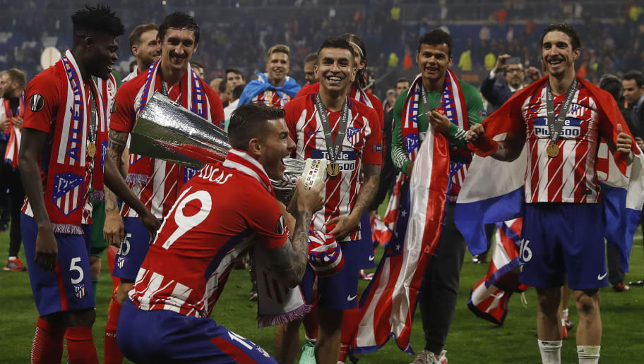 LYON, FRANCE - MAY 16:  Lucas Hernandez of Athletico Madrid holds the trophy during the UEFA Europa League Final between Olympique de Marseille and Club Atletico de Madrid at Stade de Lyon on May 16, 2018 in Lyon, France. (Photo by Ian MacNicol/Getty Images)
