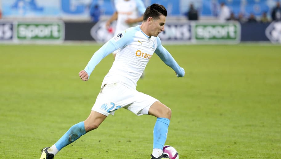 MARSEILLE, FRANCE - OCTOBER 28: Florian Thauvin of Marseille during the french Ligue 1 match between Olympique de Marseille (OM) and Paris Saint-Germain (PSG) at Stade Velodrome on October 28, 2018 in Marseille, France. (Photo by Jean Catuffe/Getty Images)