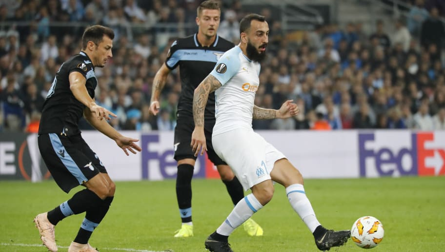 MARSEILLE, FRANCE - OCTOBER 25:  Konstantinos Mitroglou of Olympique de Marseille passes the ball during the UEFA Europa League Group H match between Olympique de Marseille and SS Lazio at Stade Velodrome on October 25, 2018 in Marseille, France.  (Photo by Guillaume Ruoppollo - OM/Getty Images)