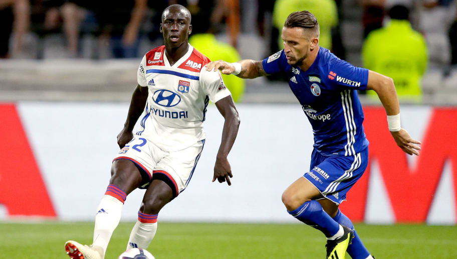 LYON, FRANCE - AUGUST 24: (L-R) Ferland Mendy of Olympique Lyon, Anthony Goncalves of Strasbourg  during the French League 1  match between Olympique Lyon v Strasbourg at the Parc Olympique Lyonnais on August 24, 2018 in Lyon France (Photo by Jeroen Meuwsen/Soccrates/Getty Images)