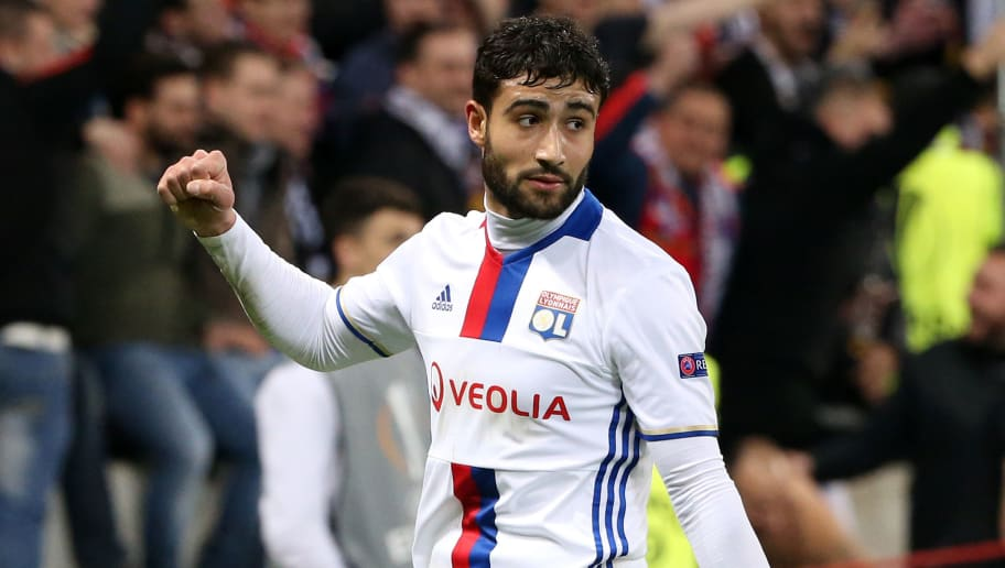 LYON, FRANCE - FEBRUARY 23: Nabil Fekir of Lyon celebrates his first goal during the UEFA Europa League Round of 32 second leg match between Olympique Lyonnais (OL) and AZ Alkmaar at Parc OL on February 23, 2017 in Lyon, France. (Photo by Jean Catuffe/Getty Images)