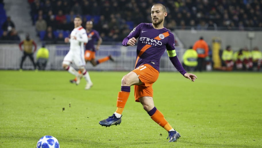 LYON, FRANCE - NOVEMBER 27: David Silva of Manchester City during the UEFA Champions League match between Olympique Lyonnais (OL) and Manchester City at Groupama Stadium on November 27, 2018 in Lyon, France. (Photo by Jean Catuffe/Getty Images)