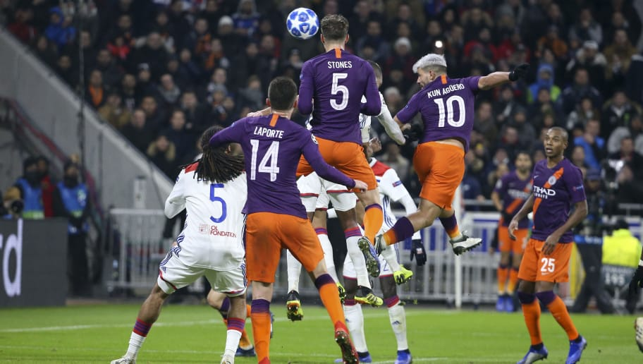 LYON, FRANCE - NOVEMBER 27: Sergio Kun Aguero of Manchester City scores the second and tying goal at 2-2 during the UEFA Champions League match between Olympique Lyonnais (OL) and Manchester City at Groupama Stadium on November 27, 2018 in Lyon, France. (Photo by Jean Catuffe/Getty Images)