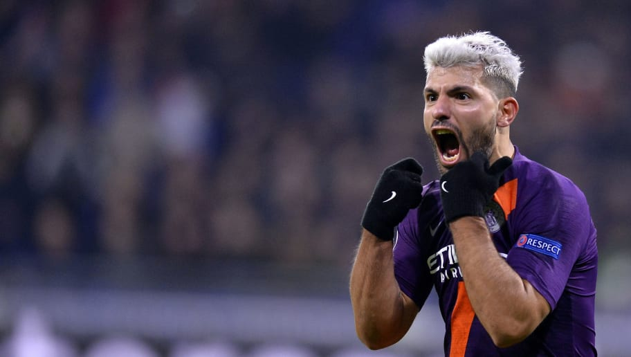 LYON, FRANCE - NOVEMBER 27:  Sergio Aguero of Manchester City reacts after scoring during the Group F match of the UEFA Champions League between Olympique Lyonnais and Manchester City at Groupama Stadium on November 27, 2018 in Lyon, France.  (Photo by Aurelien Meunier/Getty Images)