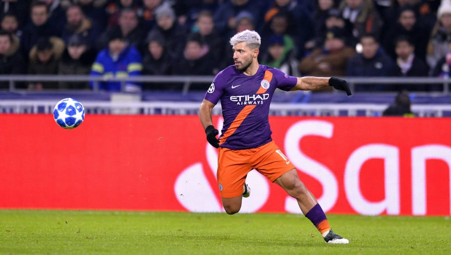 LYON, FRANCE - NOVEMBER 27:  Sergio Aguero of Manchester City runs with ball during the Group F match of the UEFA Champions League between Olympique Lyonnais and Manchester City at Groupama Stadium on November 27, 2018 in Lyon, France.  (Photo by Aurelien Meunier/Getty Images)