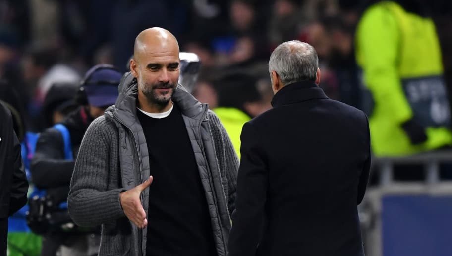 LYON, FRANCE - NOVEMBER 27:  Josep Guardiola, Manager of Manchester City shakes hand with Bruno Genesio, Manager of Olympique Lyonnais after the UEFA Champions League Group F match between Olympique Lyonnais and Manchester City at Groupama Stadium on November 27, 2018 in Lyon, France.  (Photo by Shaun Botterill/Getty Images)