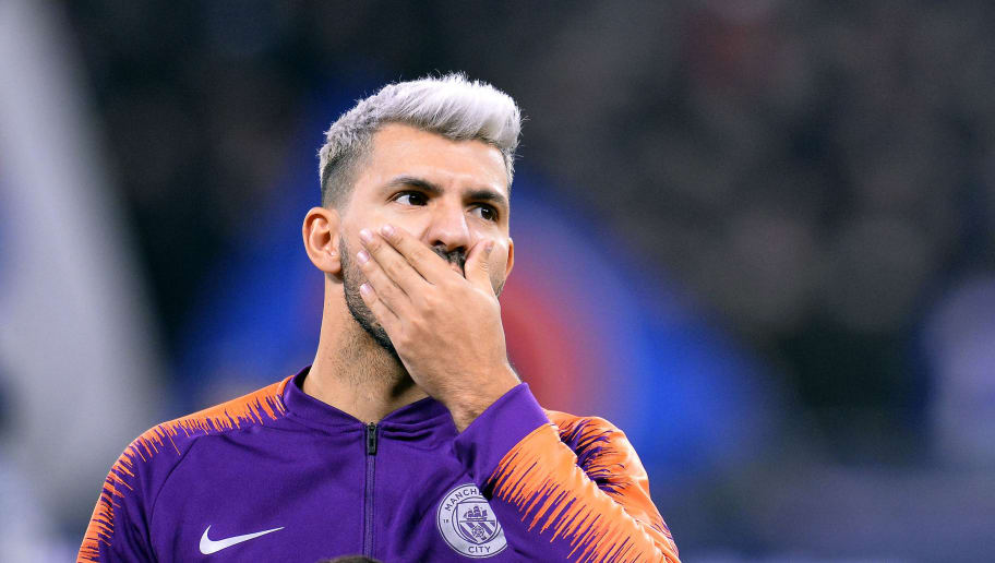 LYON, FRANCE - NOVEMBER 27:  Sergio Aguero of Manchester City reacts as he arrives on the pitch before the Group F match of the UEFA Champions League between Olympique Lyonnais and Manchester City at Groupama Stadium on November 27, 2018 in Lyon, France.  (Photo by Aurelien Meunier/Getty Images)