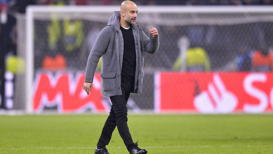 LYON, FRANCE - NOVEMBER 27:  Manchester City head coach Pep Guardiola reacts after the Group F match of the UEFA Champions League between Olympique Lyonnais and Manchester City at Groupama Stadium on November 27, 2018 in Lyon, France.  (Photo by Aurelien Meunier/Getty Images)