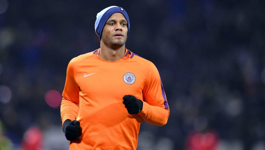 LYON, FRANCE - NOVEMBER 27: Vincent Kompany of Manchester City warms up before the Group F match of the UEFA Champions League between Olympique Lyonnais and Manchester City at Groupama Stadium on November 27, 2018 in Lyon, France.  (Photo by Aurelien Meunier/Getty Images)