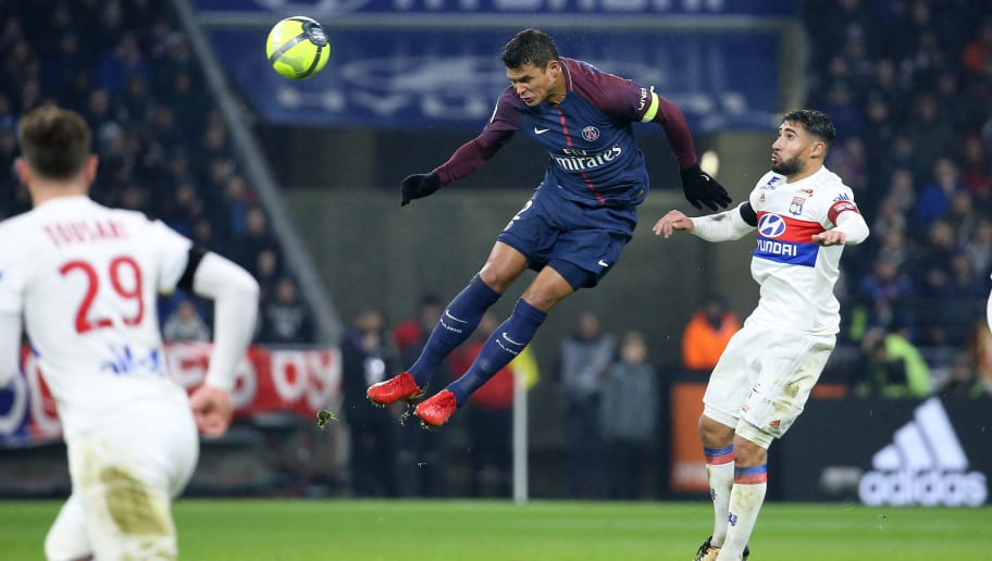 LYON, FRANCE - JANUARY 21: Thiago Silva of PSG, Nabil Fekir of Lyon during the French Ligue 1 match between Olympique Lyonnais (OL) and Paris Saint Germain (PSG) at Groupama Stadium on January 21, 2018 in Lyon, France. (Photo by Jean Catuffe/Getty Images)
