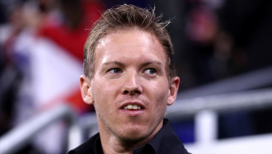 LYON, FRANCE - NOVEMBER 07:  Julian Nagelsmann manager of 1899 Hoffenheim looks on ahead of the UEFA Champions League Group F match between Olympique Lyonnais and TSG 1899 Hoffenheim at Groupama Stadium on November 7, 2018 in Lyon, France.  (Photo by Alex Grimm/Getty Images)