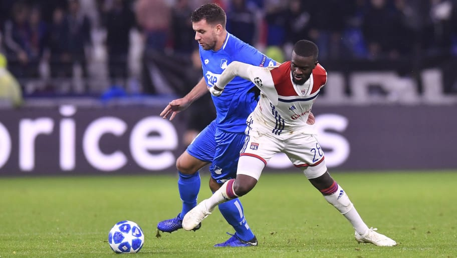 LYON, FRANCE - NOVEMBER 07:  Tanguy Ndombele of Olympique Lyonnais fights for the ball during the Group F match of the UEFA Champions League between Olympique Lyonnais and TSG 1899 Hoffenheim at Groupama Stadium on November 7, 2018 in Lyon, France.  (Photo by Aurelien Meunier/Getty Images)