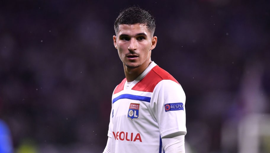 LYON, FRANCE - NOVEMBER 07:  Houssem Aouar of Olympique Lyonnais reacts during the Group F match of the UEFA Champions League between Olympique Lyonnais and TSG 1899 Hoffenheim at Groupama Stadium on November 7, 2018 in Lyon, France.  (Photo by Aurelien Meunier/Getty Images)