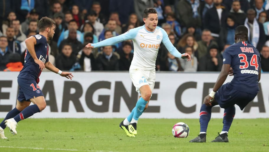 MARSEILLE, FRANCE - OCTOBER 28:  Florian Thauvin of Marseille in action during the French Ligue 1 match between Olympique Marseille and Paris Saint-Germain on October 28, 2018 at Orange Velodrome in Marseille, France.  (Photo by Xavier Laine/Getty Images)