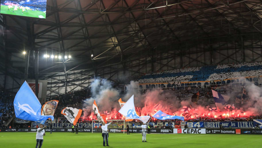 MARSEILLE, FRANCE - OCTOBER 28:  Fans of Olympique Marseille react during  the ligue 1 match between Olympique de Marseille and Paris Saint Germain at Stade Velodrome on October 28, 2018 in Marseille, France.  (Photo by Guillaume Ruoppollo - OM/Getty Images)