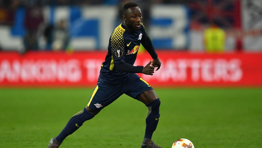 MARSEILLE, FRANCE - APRIL 12:  Naby Keita of RB Leipzig in action during the UEFA Europa League quarter final leg two match between Olympique Marseille and RB Leipzig at Stade Velodrome on April 12, 2018 in Marseille, France.  (Photo by Valerio Pennicino/Bongarts/Getty Images)