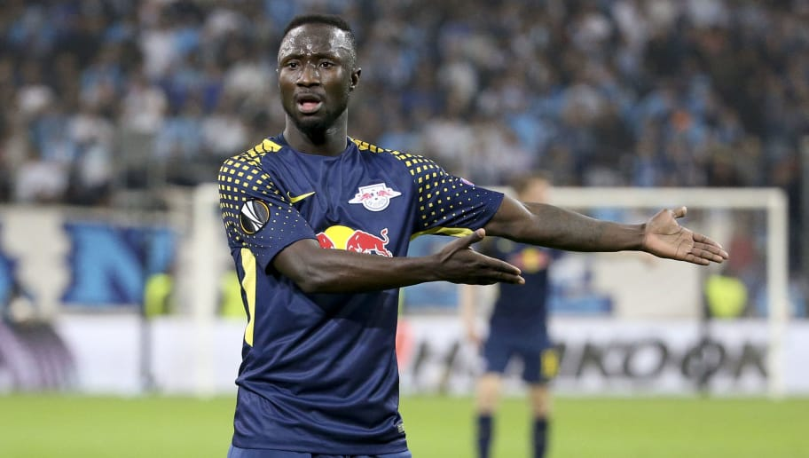 MARSEILLE, FRANCE - APRIL 12: Naby Keita of RB Leipzig during the UEFA Europa League quarter final leg two match between Olympique de Marseille and RB Leipzig at Velodrome stadium on April 12, 2018 in Marseille, France. (Photo by Jean Catuffe/Getty Images)
