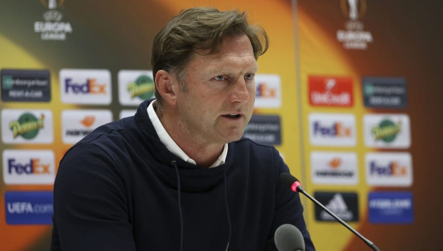 MARSEILLE, FRANCE - APRIL 12: Coach of RB Leipzig Ralph Hasenhuttl anwers to the media following the UEFA Europa League quarter final leg two match between Olympique de Marseille and RB Leipzig at Velodrome stadium on April 12, 2018 in Marseille, France. (Photo by Jean Catuffe/Getty Images)