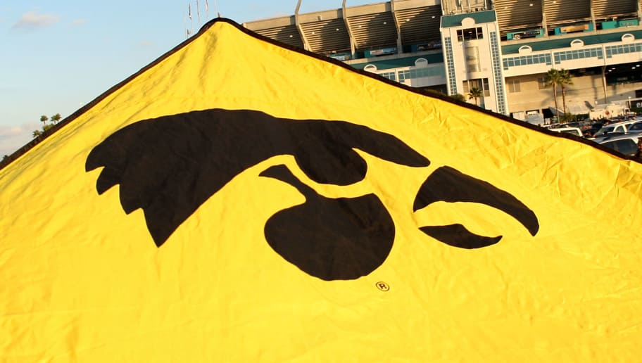 MIAMI GARDENS, FL - JANUARY 05:  A detail of a Iowa Hawkeyes logo is seen on a canopy of a tailgating tent prior to the Iowa Hawkeyes playing against the Georiga Tech Yellow Jackets during the FedEx Orange Bowl at Land Shark Stadium on January 5, 2010 in Miami Gardens, Florida.  (Photo by Streeter Lecka/Getty Images)