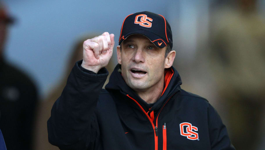 PALO ALTO, CA - NOVEMBER 27:  Head coach Mike Riley of the Oregon State Beavers walks on to the field for their game against the Stanford Cardinal at Stanford Stadium on November 27, 2010 in Palo Alto, California.  (Photo by Ezra Shaw/Getty Images)
