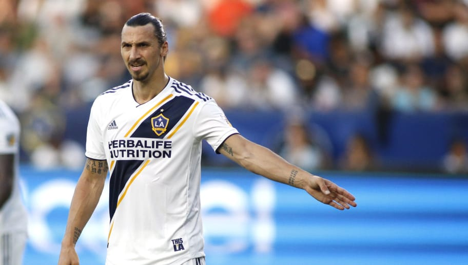 CARSON, CA - JULY 29: Zlatan Ibrahimovic #9 of the Los Angeles Galaxy prepares for a play at StubHub Center on July 29, 2018 in Carson, California. (Photo by Katharine Lotze/Getty Images)