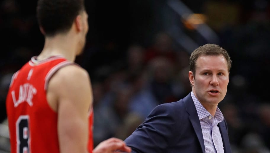 CHICAGO, IL - FEBRUARY 12:  Head coach Fred Hoiberg of the Chicago Bulls gives instructions to Zach LaVine #8 during a game against the Orlando Magic at the United Center on February 12, 2018 in Chicago, Illinois. The Bulls defeated the Magic 105-101. NOTE TO USER: User expressly acknowledges and agrees that, by downloading and or using this photograph, User is consenting to the terms and conditions of the Getty Images License Agreement. (Photo by Jonathan Daniel/Getty Images)