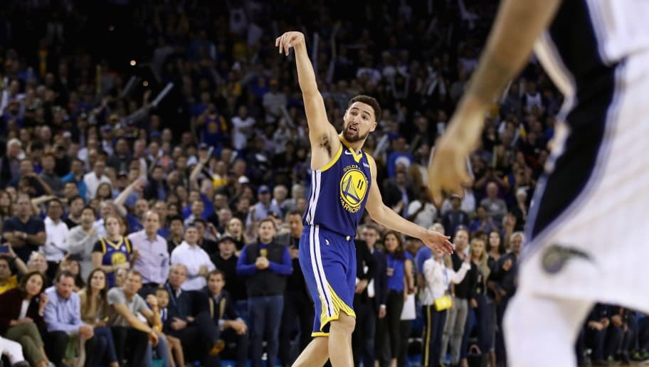 OAKLAND, CA - NOVEMBER 26:  Klay Thompson #11 of the Golden State Warriors watches a shot during their game against the Orlando Magic at ORACLE Arena on November 26, 2018 in Oakland, California. NOTE TO USER: User expressly acknowledges and agrees that, by downloading and or using this photograph, User is consenting to the terms and conditions of the Getty Images License Agreement.  (Photo by Ezra Shaw/Getty Images)
