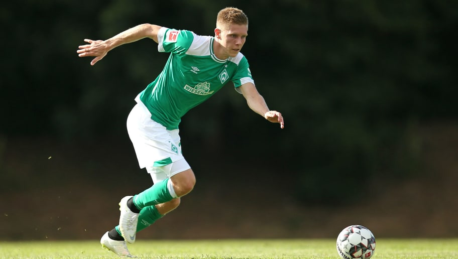 BREMERHAVEN, GERMANY - JULY 10: Aron Johannsson of Werder Bremen controls the ball during the friendly match between OSC Bremerhaven and Werder Bremen on July 10, 2018 in Bremerhaven, Germany. (Photo by TF-Images/Getty Images)