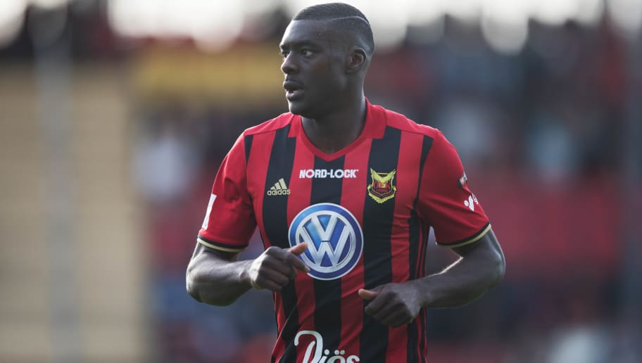 OSTERSUND, SWEDEN - MAY 26: Ken Sema of Ostersunds FK during the Allsvenskan match between Ostersunds FK and BK Hacken at Jamtkraft Arena on May 26, 2018 in Ostersund, Sweden. (Photo by Nils Petter Nilsson/Getty Images)