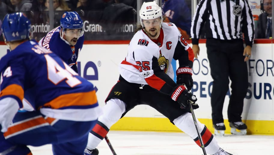 NEW YORK, NY - DECEMBER 01: Erik Karlsson #65 of the Ottawa Senators skates against the New York Islanders at the Barclays Center on December 1, 2017 in the Brooklyn borough of New York City. The Senators defeated the Islanders 6-5.  (Photo by Bruce Bennett/Getty Images)