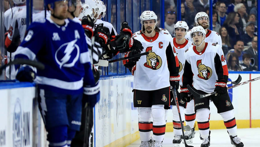 TAMPA, FL - MARCH 13: Erik Karlsson #65 of the Ottawa Senators celebrates a goal during a game against the Tampa Bay Lightning at Amalie Arena on March 13, 2018 in Tampa, Florida.  (Photo by Mike Ehrmann/Getty Images)
