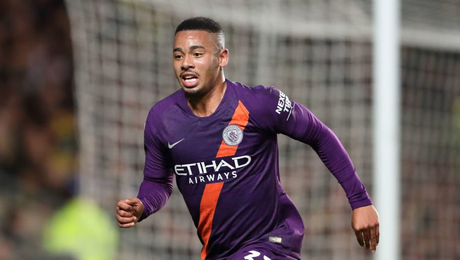 OXFORD, ENGLAND - SEPTEMBER 25: Gabriel Jesus of Manchester City during the Carabao Cup Third Round match between Oxford United and Manchester City at Kassam Stadium on September 25, 2018 in Oxford, England. (Photo by James Williamson - AMA/Getty Images)