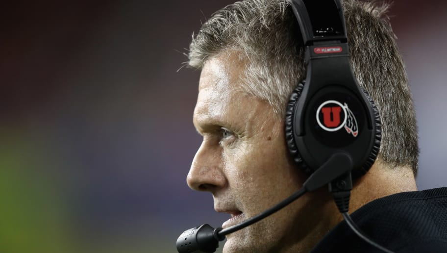 SANTA CLARA, CA - NOVEMBER 30:  Head coach Kyle Whittingham of the Utah Utes stands on the sidelines during the Pac 12 Championship game against the Washington Huskies at Levi's Stadium on November 30, 2018 in Santa Clara, California.  (Photo by Ezra Shaw/Getty Images)