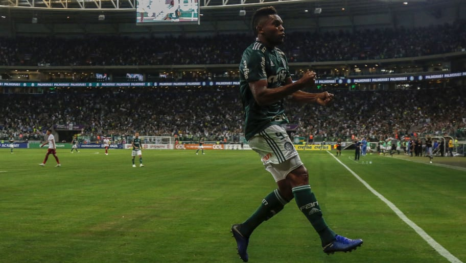 SAO PAULO, BRAZIL - NOVEMBER 14: MIguel Borja of Palmeiras celebrates after scoring the opening goal during a match between Palmeiras and Fluminense for the Brasileirao Series A 2018 at Allianz Parque on November 14, 2018 in Sao Paulo, Brazil. (Photo by Miguel Schincariol/Getty Images) (Photo by Miguel Schincariol/Getty Images)