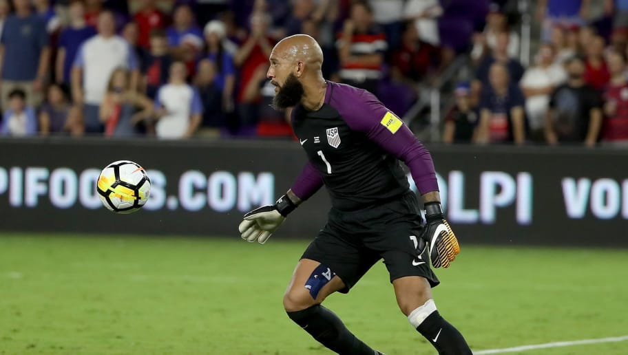 ORLANDO, FL - OCTOBER 06:  Tim Howard #1 of the United States looks down field during the final round qualifying match against Panama for the 2018 FIFA World Cup at Orlando City Stadium on October 6, 2017 in Orlando, Florida.  (Photo by Sam Greenwood/Getty Images)