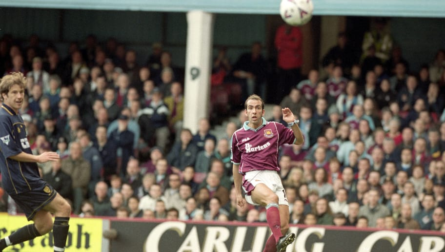 26 Mar 2000:  Paolo Di Canio of West Ham United scores the first goal during the FA Carling Premiership match against Wimbledon at Upton Park in London.  West Ham United won the match 2-1. \ Mandatory Credit:  Stu Forster/Allsport