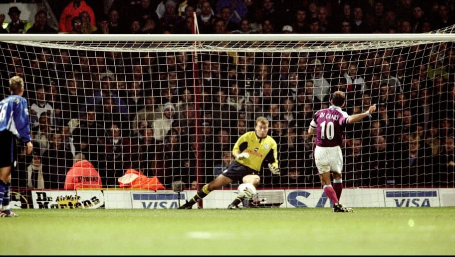21 Nov 1999:  Paolo Di Canio of West Ham United beats Kevin Pressman in the Sheffield Wednesday goal to score a penalty during the FA Carling Premiership match at Upton Park in London. West Ham won 4-3. \ Mandatory Credit: Mike Hewitt /Allsport