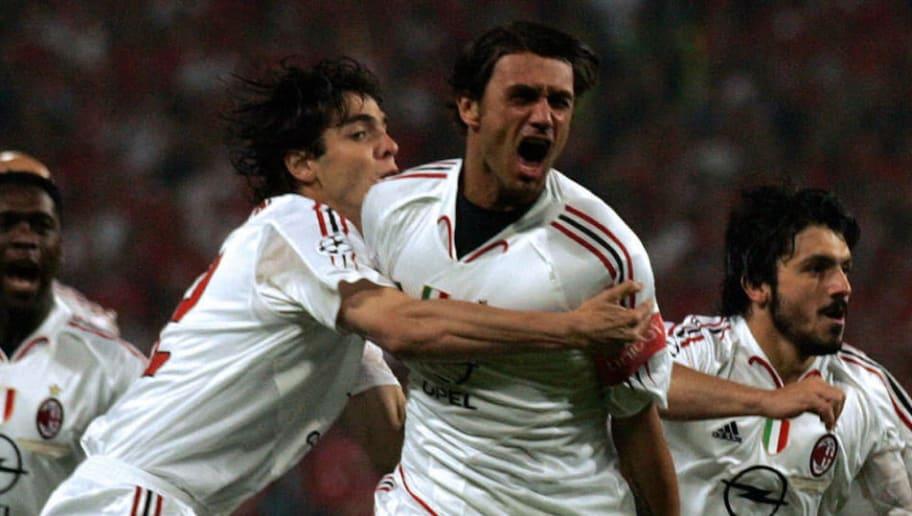 AC Milan's Brazilian forward Kaka (L) hu