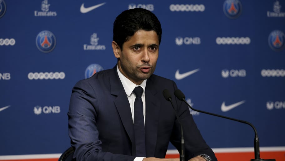 PARIS, FRANCE - MAY 20: Thomas Tuchel of Germany is presented by President of PSG Nasser Al Khelaifi (pictured) as new coach of Paris Saint-Germain (PSG) during a press conference at Parc des Princes stadium on May 20, 2018 in Paris, France. (Photo by Jean Catuffe/Getty Images)