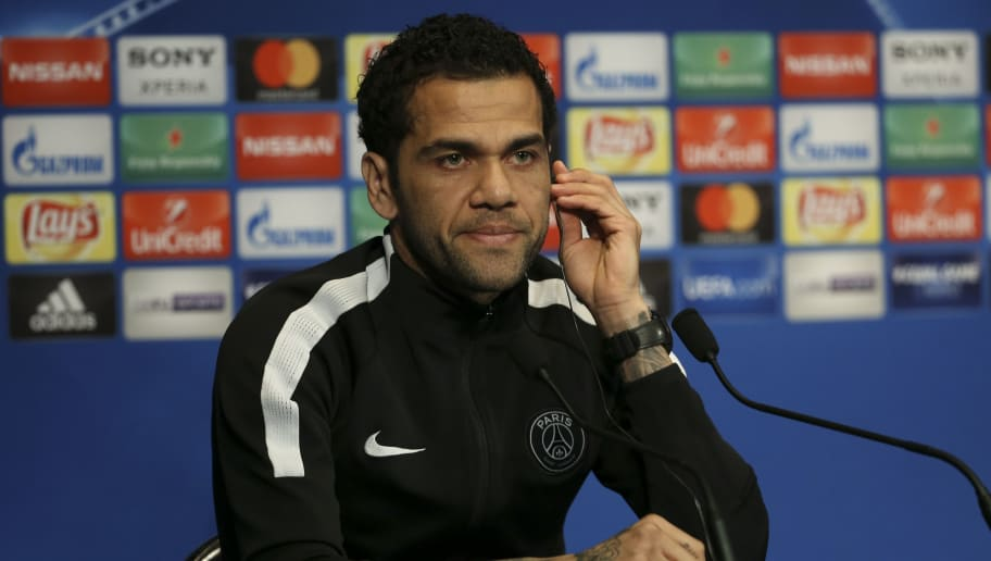 PARIS, FRANCE - MARCH 5: Dani Alves aka Daniel Alves of PSG answers to the media at a press conference on the eve of UEFA Champions League match between Paris Saint Germain (PSG) and Real Madrid at Parc des Princes on March 5, 2018 in Paris, . (Photo by Jean Catuffe/Getty Images)