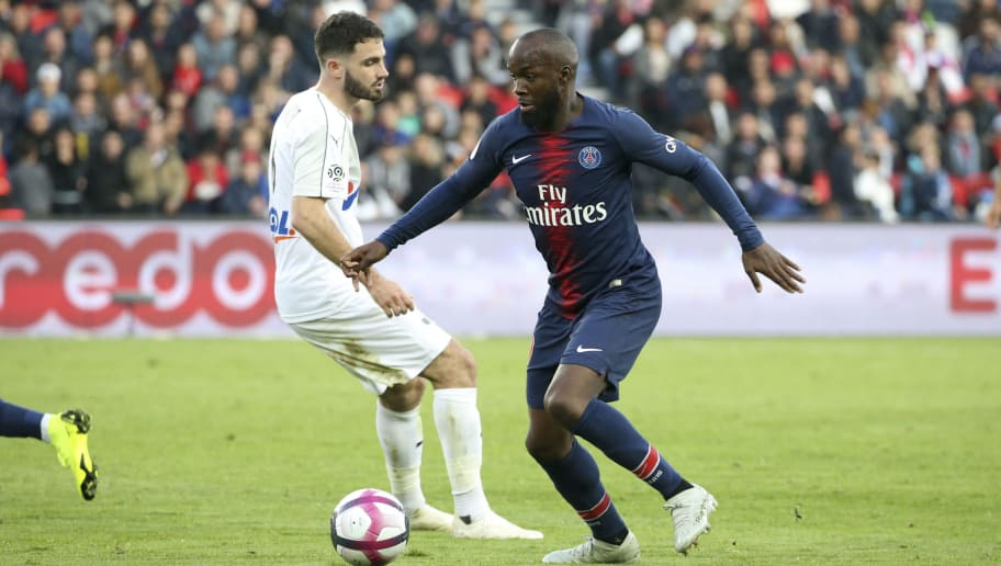 PARIS, FRANCE - OCTOBER 20: Lassana Diarra of PSG, Thomas Monconduit (left) during the french Ligue 1 match between Paris Saint-Germain (PSG) and Amiens SC at Parc des Princes stadium on October 20, 2018 in Paris, France. (Photo by Jean Catuffe/Getty Images)