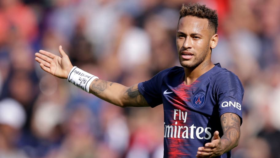 PARIS, FRANCE - AUGUST 25: Neymar Jr of Paris Saint Germain  during the French League 1  match between Paris Saint Germain v Angers at the Parc des Princes on August 25, 2018 in Paris France (Photo by Jeroen Meuwsen/Soccrates/Getty Images)